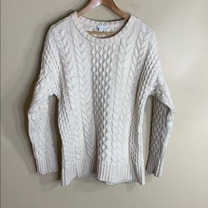 J jill cream chunky cable knit crew neck sweater